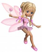 stock photo of faerie  - Cute toon ballerina fairy in a pink tutu with gossamer wings and a wand - JPG