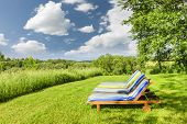 image of lawn chair  - Two wooden outdoor lounge chairs on lush green lawn with trees - JPG
