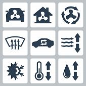 pic of freezing temperatures  - Vector air conditioning icons set over white - JPG