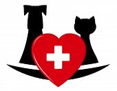 stock photo of veterinary  - isolated sign  with pets and heart  - JPG