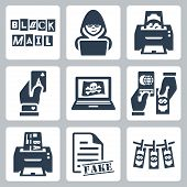 stock photo of hack  - Vector criminal activity icons set - JPG