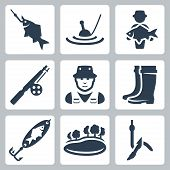 stock photo of catching fish  - Vector fishing icons set - JPG