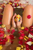 stock photo of nude women  - nude woman in a bath - JPG
