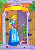 image of fairy-tale  - Page with fairy tale beauty and empty scroll above her where could be some text - JPG