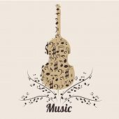 stock photo of compose  - a violin composed by brown sillhouetes of music notes - JPG