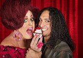foto of drag-queen  - Drag queen with close friend eating cupcakes - JPG