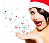 stock photo of blow-up  - Christmas Woman - JPG
