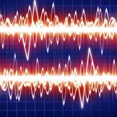 stock photo of blue-screen-of-death  - brain waves on a dark blue background - JPG