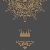 Elegant Gold Frame Banner With Crown, Floral Elements On The Ornate Background. Vector Illustration.