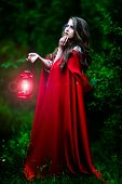 picture of cloak  - beautiful woman with red cloak and lantern in the woods - JPG