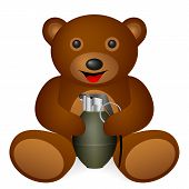image of grenades  - Teddy bear grenade on a white background - JPG