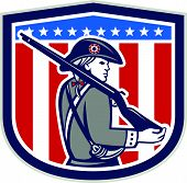 stock photo of muskets  - Illustration of an American Patriot minuteman holding a musket rifle facing side set inside crest shield with stars on isolated background done in retro style - JPG