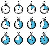foto of chronometer  - Set of timers or chronometers web and mobile icons - JPG