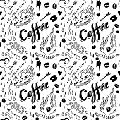 picture of silkscreening  - Coffee seamless pattern in traditional tattoo style - JPG