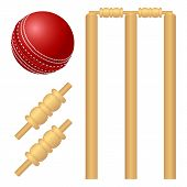 stock photo of cricket ball  - Cricket ball and stump isolated on white - JPG