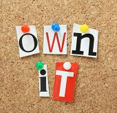 foto of take responsibility  - The phrase Own It in cut out magazine letters pinned to a cork notice board - JPG
