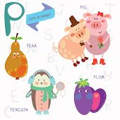 picture of baby pig  - Alphabet design in a colorful style - JPG