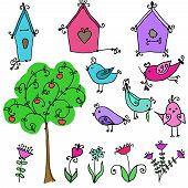 picture of nesting box  - set of cute cartoon birds - JPG