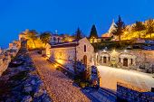 picture of serbia  - Belgrade fortress at night with monuments - JPG