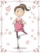 image of pregnancy exercises  - Vector cartoon of a cute young pregnant woman doing exercises - JPG