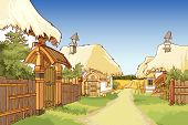 pic of street-art  - cartoon village street with houses with a roofs made of hay - JPG