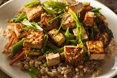 stock photo of stir fry  - Homemade Tofu Stir Fry with Vegetables and Rice - JPG