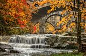 picture of sm  - Berea Falls Ohio during peak fall colors. This cascading waterfall looks it