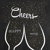 stock photo of congrats  - Two champagne flutes with golden doodle bubbles make cheers on chalkboard background - JPG