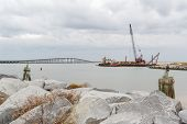 picture of dredge  - Oregon Inlet on the Outer Banks of North Carolina - JPG