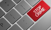 image of stop fighting  - Computer keyboard with word Stop Crime - JPG