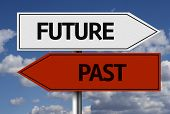 image of past future  - Creative sign with the text  - JPG
