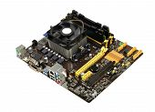 stock photo of processor socket  - Computer motherboard with CPU cooler - JPG