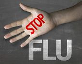 picture of flu shot  - Educational and Creative composition with the message Stop Flu on the blackboard - JPG
