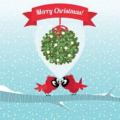 image of cardinals  - Vector illustration Stock Cardinal Birds kissing under the Christmas mistletoe branch - JPG
