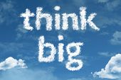 stock photo of text cloud  - Amazing Think Big text on clouds - JPG