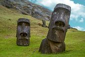 image of stone sculpture  - Moai standing in Easter Island  - JPG