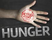 foto of starving  - Educational and Creative composition with the message Stop Hunger on the blackboard - JPG
