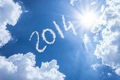 pic of reveillon  - 2014 written on a beautiful sky - JPG