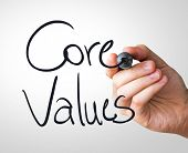 image of conduction  - Core Values hand writing with a black mark on a transparent board - JPG