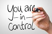 image of domination  - You are in Control hand writing with a black mark on a transparent board - JPG
