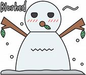 stock photo of blush  - cartoon winter snowman symbol with blushed face - JPG