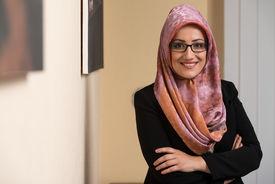 foto of muslim  - Happy Muslim Business Woman In The Office - JPG