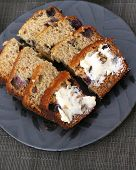 picture of fresh slice bread  - Freshly baked and sliced banana bread with butter - JPG