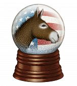 pic of donkey  - Digital illustration of a snow globe containing stars and stripes and a donkey to represent the Democrat party - JPG