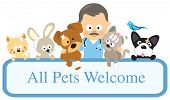 stock photo of petting  - Illustration of a vet and pets holding sign - JPG