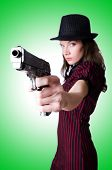 image of handgun  - Woman gangster with handgun on white - JPG