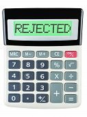 pic of rejection  - Calculator with REJECTED on display isolated on white background - JPG
