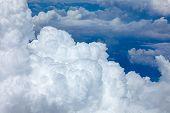 image of cumulus-clouds  - beautiful fluffy clouds in blue sky cumulus background - JPG