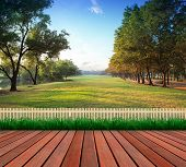 stock photo of public housing  - wood terrace and green grass field public park use as natural backgroundbackdrop - JPG