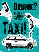 stock photo of drawing beer  - Typographic retro grunge taxi poster - JPG